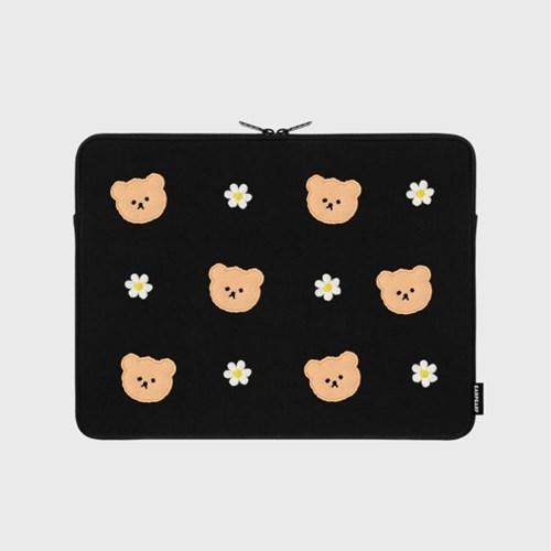 Dot flower bear-black-13inch notebook pouch