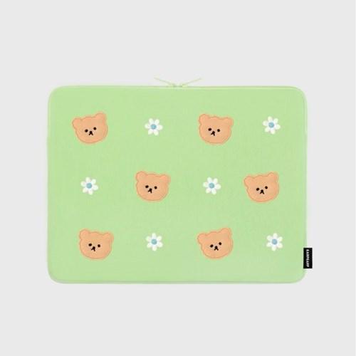 [04.26 예약배송]Dot flower bear-mint-13inch notebook pouch