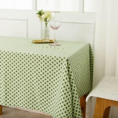 민트 레트로 도트 면린넨 식탁보 테이블매트