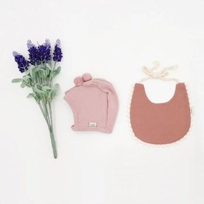 [메르베] 브리즈빕 아기 턱받이+말랑폼폼 모자세트(딥핑_(1533719)