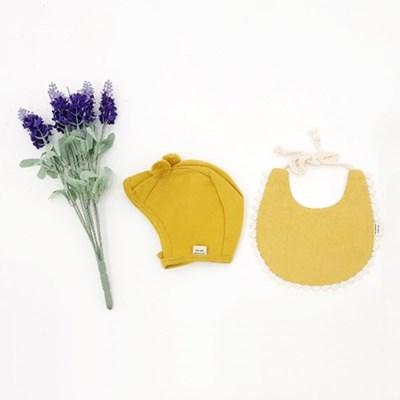 [메르베] 브리즈빕 아기 턱받이+말랑폼폼 모자세트(머스_(1533716)