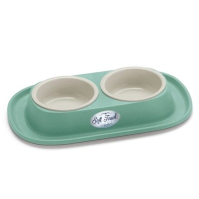 강아지 고양이 밀림 미끄럼 방지 2구 보울 사료 식기