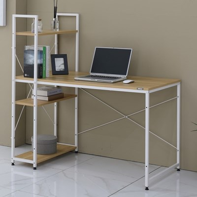 쿠퍼 티크무늬목 철제책상 H형 컴퓨터책상