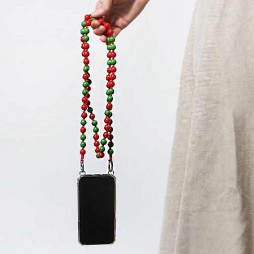[레드&그린]컬러 우드볼 스트랩 핸드폰케이스_PH913