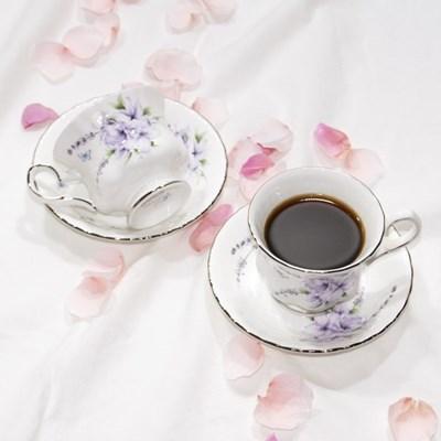 한국도자기 엘리제 퍼플 커피잔 세트 2인 4p 컵앤소서