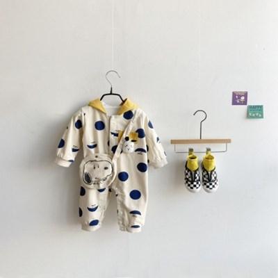 돌핀웨일 도트해피후드우주복(12~24개월)