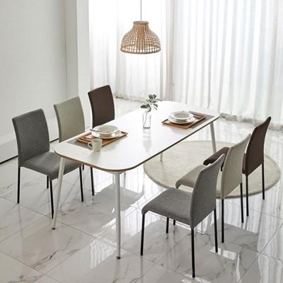더메종 화이트 식탁 1200-1800 2인식탁세트6인식탁