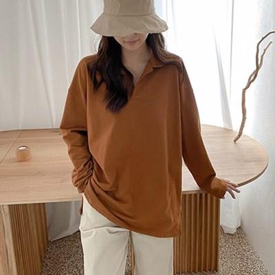 여자 가을 루즈핏 오버핏 보이프렌드핏 카라 티셔츠