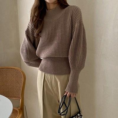 여자 가을 퍼프소매 목폴라 블루종 골지 니트 티셔츠