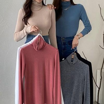 여자 가을 하이넥 민무늬 목폴라 몸에붙는 티셔츠