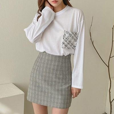 여자 가을 체크무늬 가슴포켓 라운드넥 기본 티셔츠
