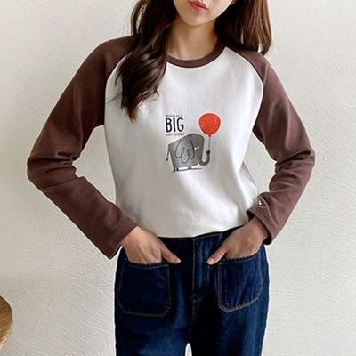 여자 간절기 캐릭터 프린팅 라운드 나그랑 긴팔 티셔츠