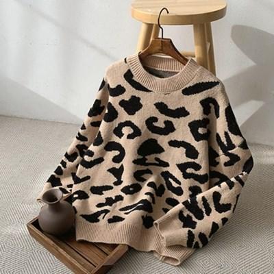여자 간절기 호피 레오파드 라운드 루즈핏 니트 티셔츠
