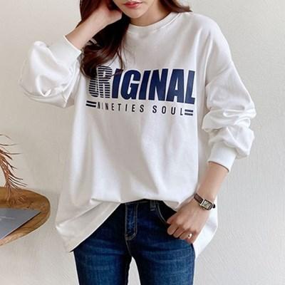여자 간절기 캐주얼 영어 레터링 라운드 맨투맨 티셔츠