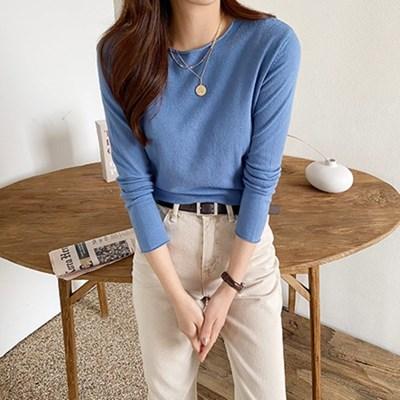 여자 캐주얼 데일리 슬림핏 라운드 베이직 니트 티셔츠