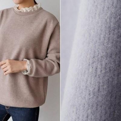 여자 겨울 기모 라운드넥 레이스 소매 니트 티셔츠