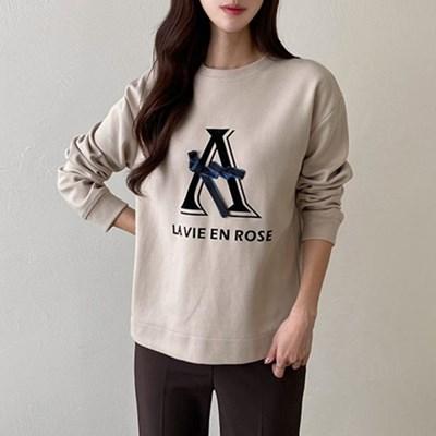 여자 간절기 캐주얼 프린팅 라운드 긴팔 티셔츠