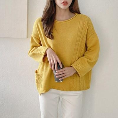 여자 가을 겨울 라운드 짜임 포켓 울 니트 티셔츠