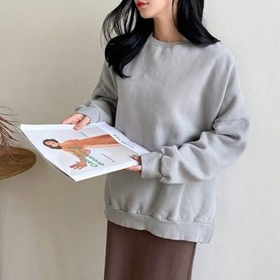 여자 가을 겨울 데일리 무지 라운드 맨투맨 티셔츠