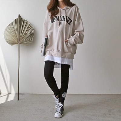 여자 가을 겨울 데일리 영어 레터링 후드 티셔츠