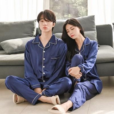 (기획특가)신혼부부 커플 실크 잠옷 세트 파자마