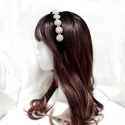 포근한3cm패딩 벨벳머리띠 뜨개진주플라워 헤어밴드