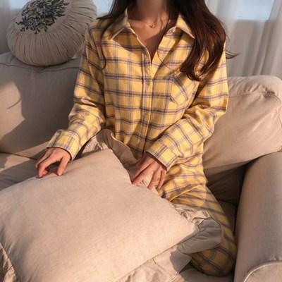 기모면 봉봉 체크 겨울 잠옷 홈웨어