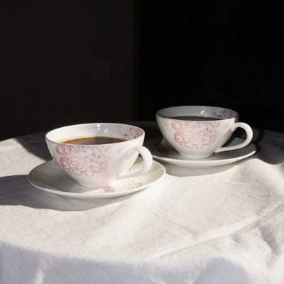 한국도자기 국화문 커피잔 세트 2인 4p 찻잔 컵앤소서