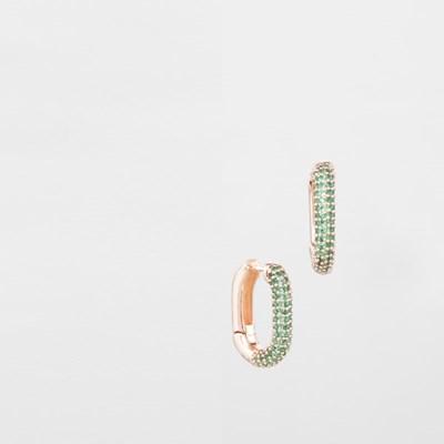 [쥬디앤폴] 제프리 미니 로즈 골드 에메랄드 그린 링 귀걸이 E51498