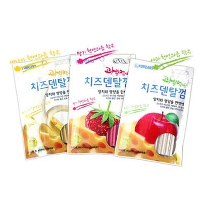 포켄스 과일먹은 강아지 치즈덴탈 개껌 100g 딸기/사과/바나나