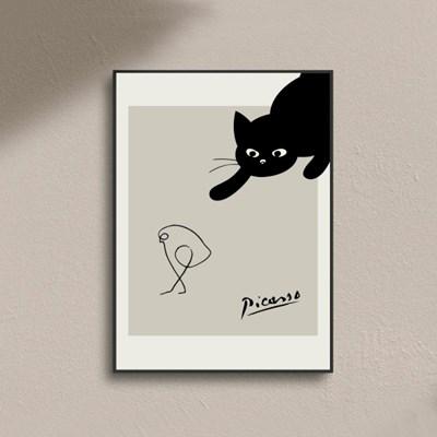 피카소 명화 고양이 라인드로잉 아트포스터 액자
