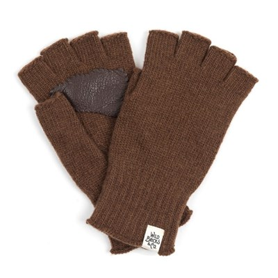 LEATHER PALM FINGERLESS GLOVES (camel)