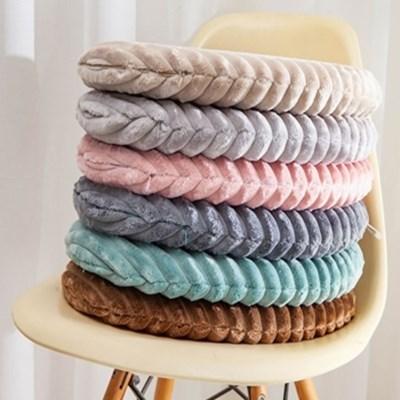 푹신한 극세사 메모리폼 쿠션 겨울 양면 원형 털 방석 6color
