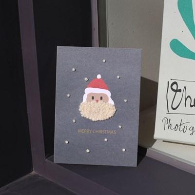 직접 수놓아 만드는 해피산타 크리스마스 자수카드 2장 세트 DIY KIT