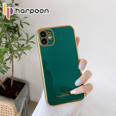 하푼 아이폰12프로 골드라인 렌즈보호 케이스