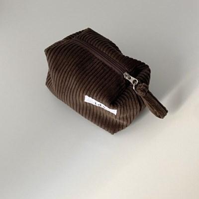 골덴 브라운 네모 파우치(Corduroy brown oblong pouch)