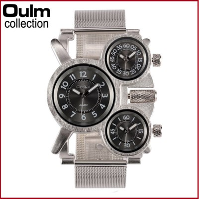 남성 아날로그 Oulm 3Pieces 스포츠 손목시계_1167