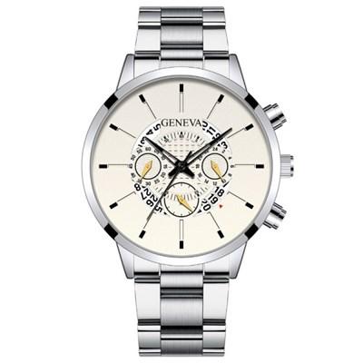 남성 아날로그 GENEVA Silver Watch 손목시계_S967