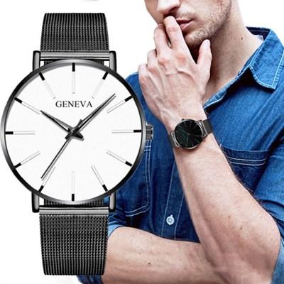 남성 아날로그 GENEVA White Watch 손목시계 111
