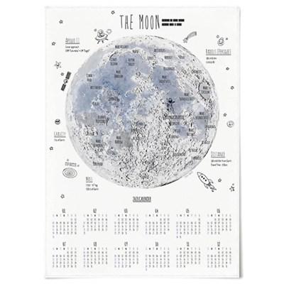 2021 패브릭 천 벽걸이 달력 일러스트 포스터 달 지도