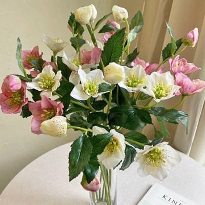 겨울 장미 헬레보루스 가지 (2color) - 인테리어조화 실크플라워