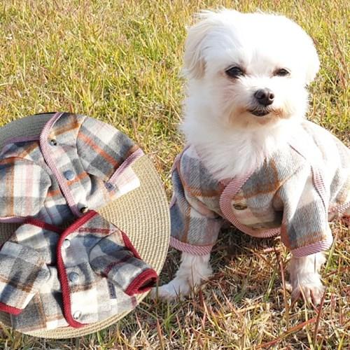 글렌체크코트 강아지외투 강아지자켓 애견패딩
