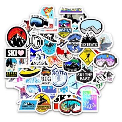 트래블 캠핑 노트북 여행가방 데코스티커 - 스키&보드 - 50매