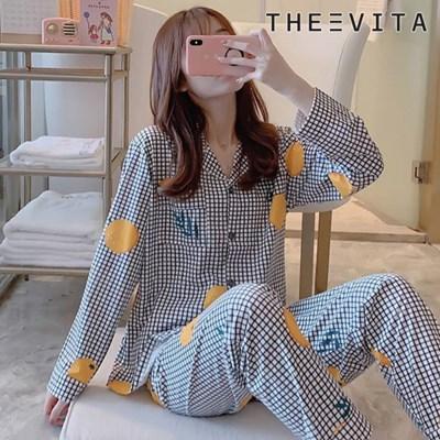 [더에비타]헤이즐(Hazel) 체크오렌지 패턴 잠옷 세트_(1860926)