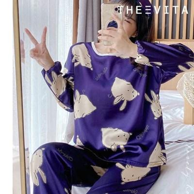 [더에비타]오드리(Audrey) 실크퍼플래빗 잠옷+안대 세트_(1860929)