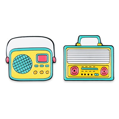 레트로 라디오 뱃지