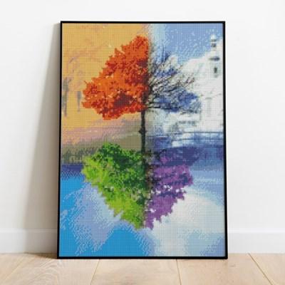 보석십자수 사계나무 DIY 픽스아트 큐빅 비즈 취미생활