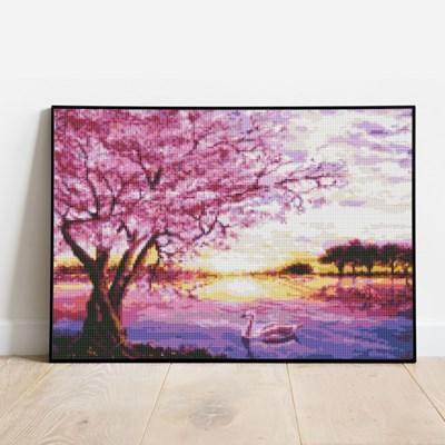보석십자수 벚꽃 호수 DIY 픽스아트 큐빅 비즈 취미생활