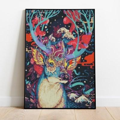 보석십자수 꿈 속의 사슴 DIY 픽스아트 큐빅 비즈 취미