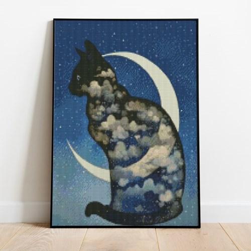 보석십자수 달과 고양이 DIY 픽스아트 큐빅 비즈 취미생